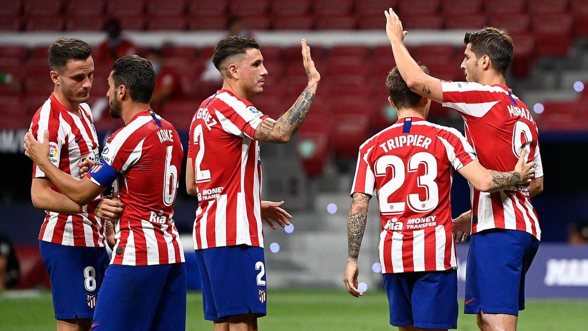 Los jugadores rojiblancos celebran el gol de Morata   Atlético-Mallorca
