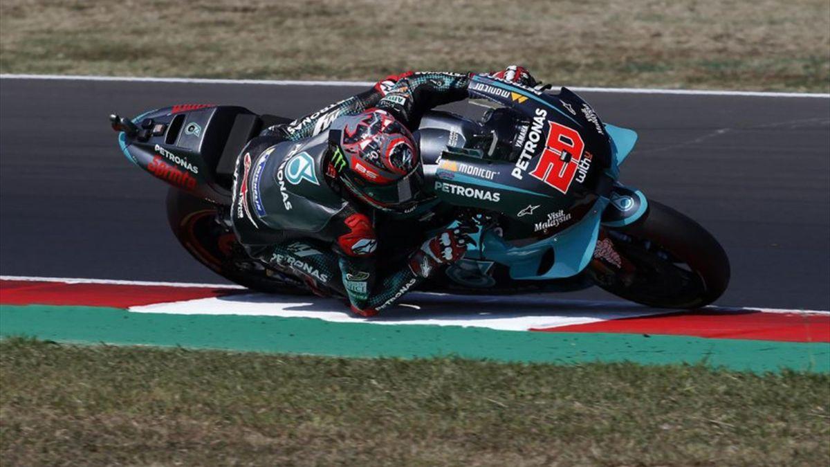 Fabio Quartararo sulla sua Yamaha Petronas ad Aragon