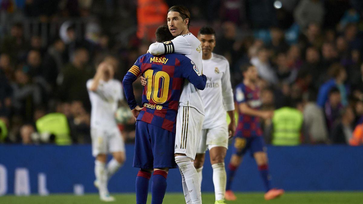 Abrazo entre Messi y Sergio Ramos