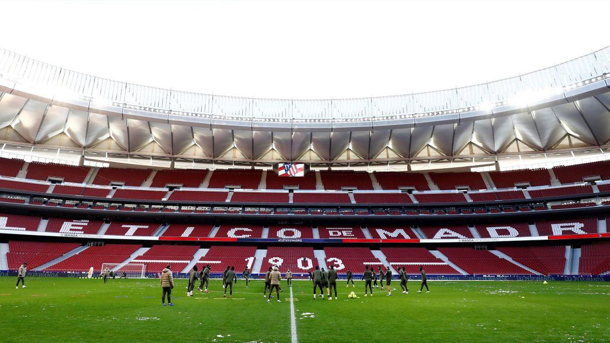 El Wanda Metropolitano nevado, Filomena. Entrenamiento del Atlético de Madrid en la previa del partido ante el Sevilla aplazado de la 1ª jornada.