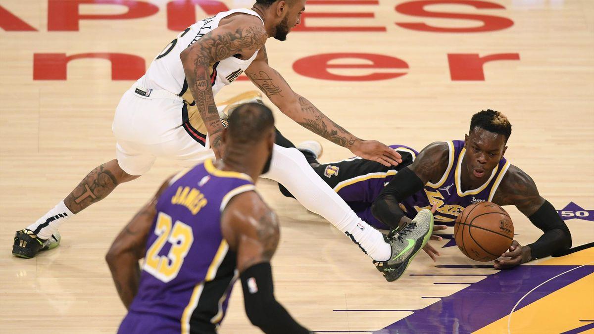 Schröder (r.) feierte mit den Lakers den fünften Sieg