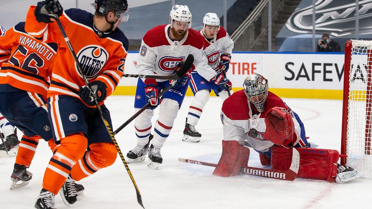 Kahun (vorne) erzielt Führungstor der Oilers