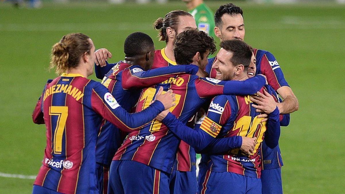 El Barça celebra el gol de la victoria