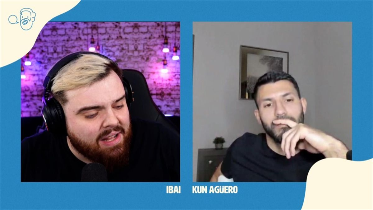 Agüero e Ibai Llanos charlando en Twitch