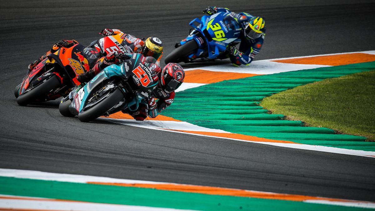 Image shows Fabio Quartararo (FRA/ Yamaha), Pol Espargaro (ESP/ KTM), Marc Marquez (ESP/ Honda) and Joan Mir (ESP/ Suzuki).