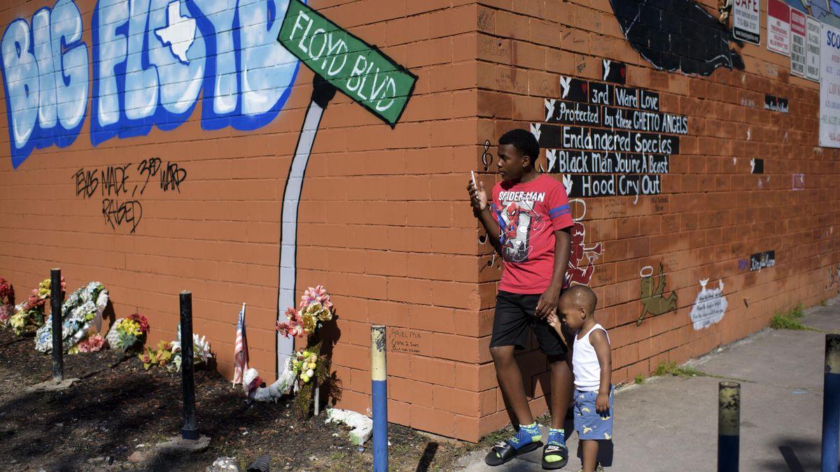 Eine Gedenkstätte für George Floyd in Houston