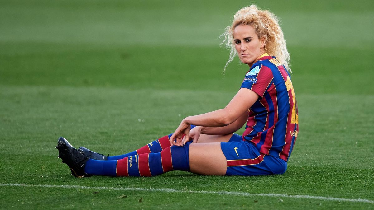 Kheira Hamraoui of FC Barcelona looks on lying on the pitch during the Women's UEFA Champions League