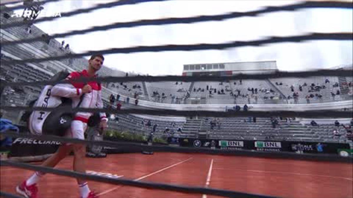Heavy rain stops play in Rome with Tsitsipas leading Djokovic