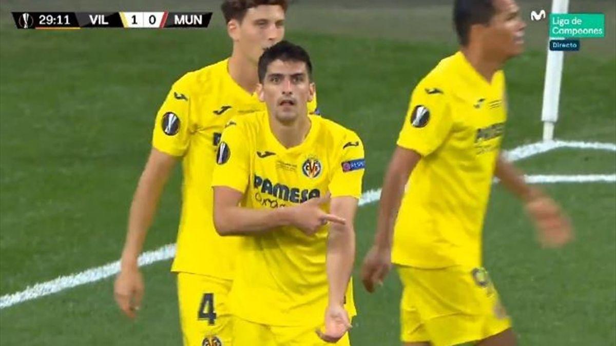Gerard Moreno celebra el gol ante el United como prometió en La Resistencia