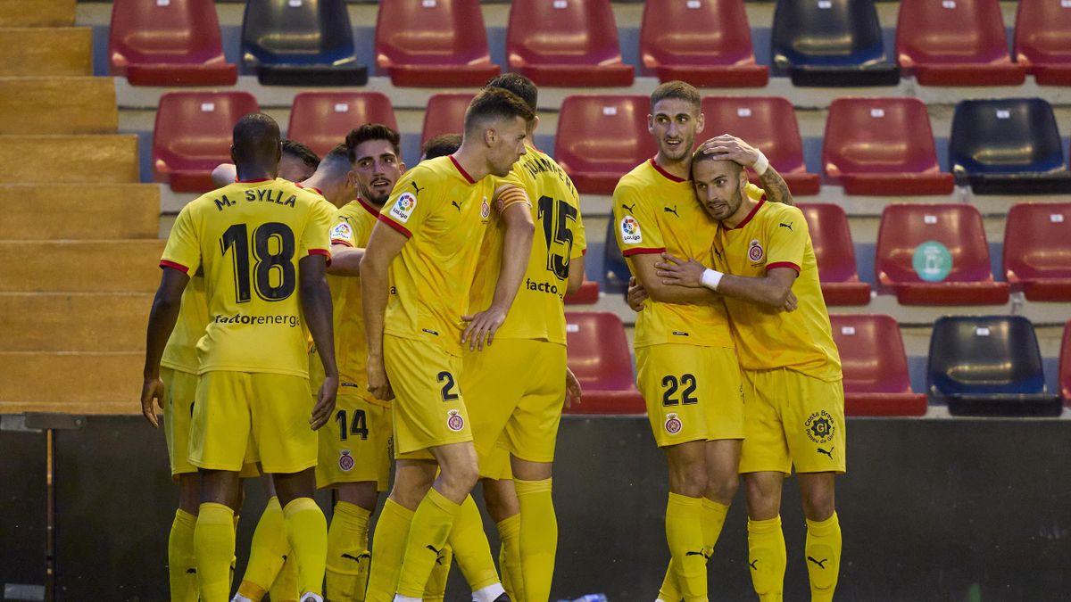 Rayo-Girona, celebración del gol de Franquesa