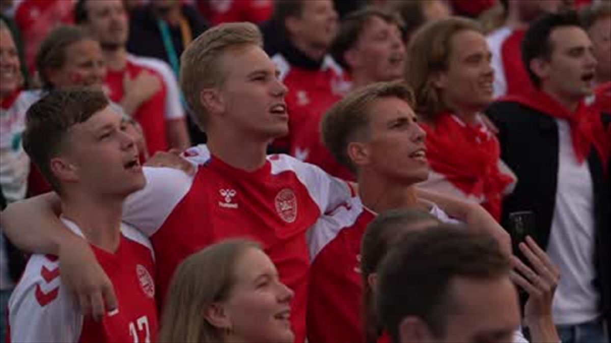 Fan zone erupts as Denmark beat Russia 4-1 to surge into Euro 2020 last 16