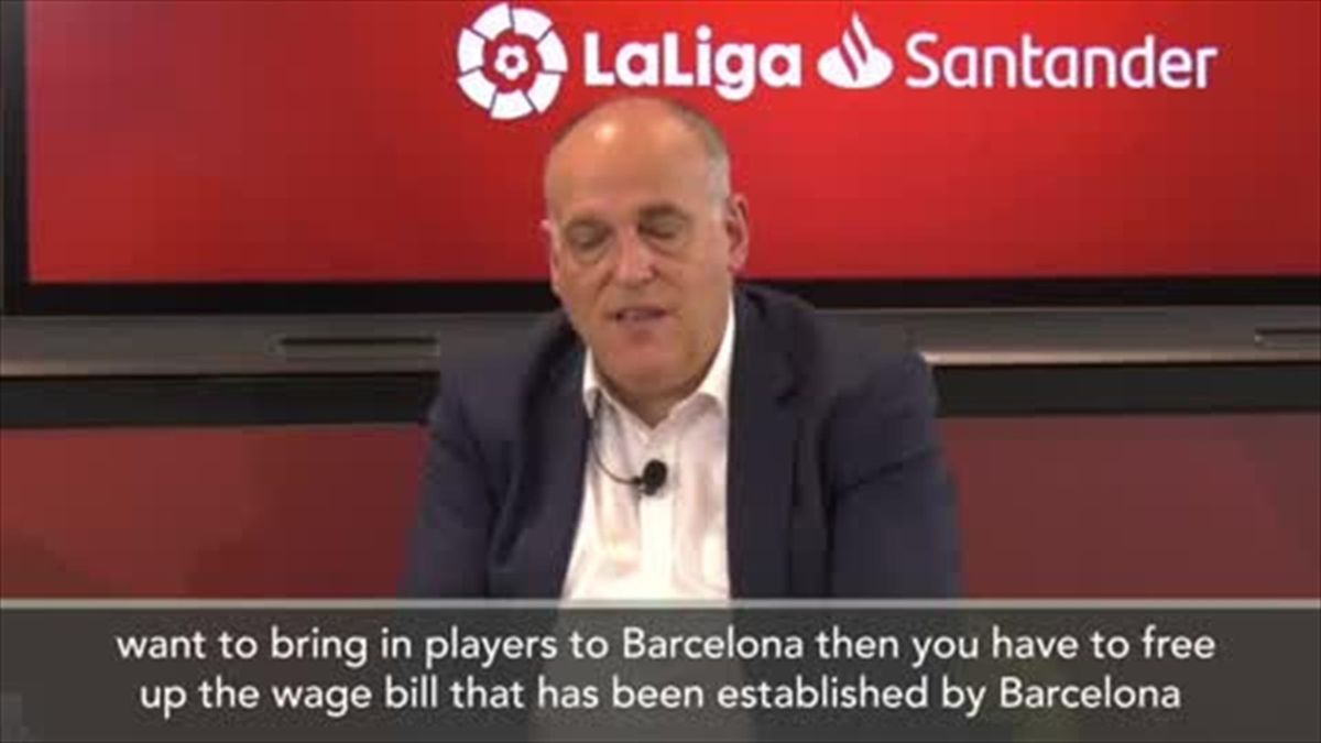 'Barca need to bring wage bill down for Messi to stay' Tebas