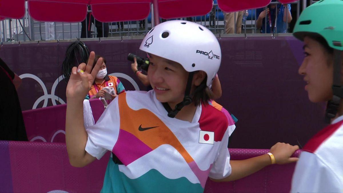 Tokyo 2020 Skateboarding women final emotion of Nishiya Momiji