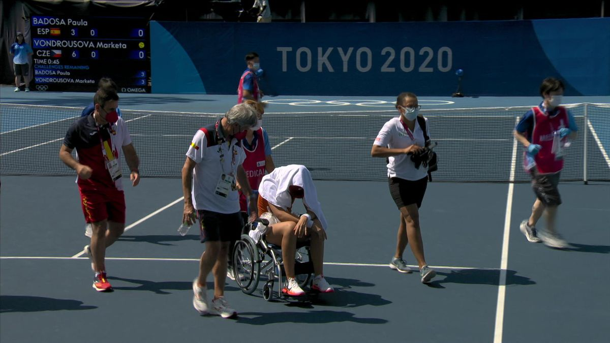 Awful scenes as Badosa leaves court in wheelchair after retiring in extreme heat