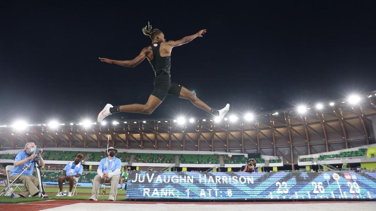 JuVaughn Harrison au saut en longueur lors des Trials américains 2021.