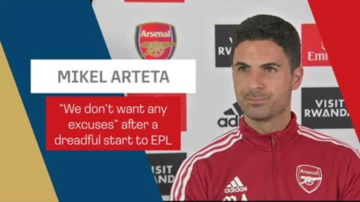 """""""We don't want any excuses"""" - says under-pressure Arteta"""