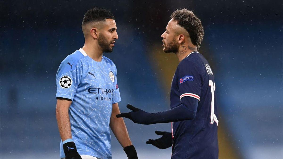 Neymar y Mahrez en un duelo entre PSG y Manchester City