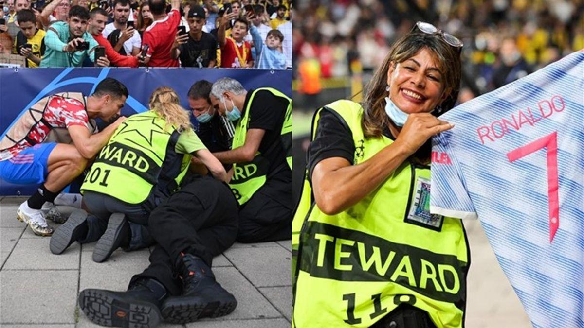 Cristiano dio un balonazo a una agente de seguridad y luego le regaló la camiseta