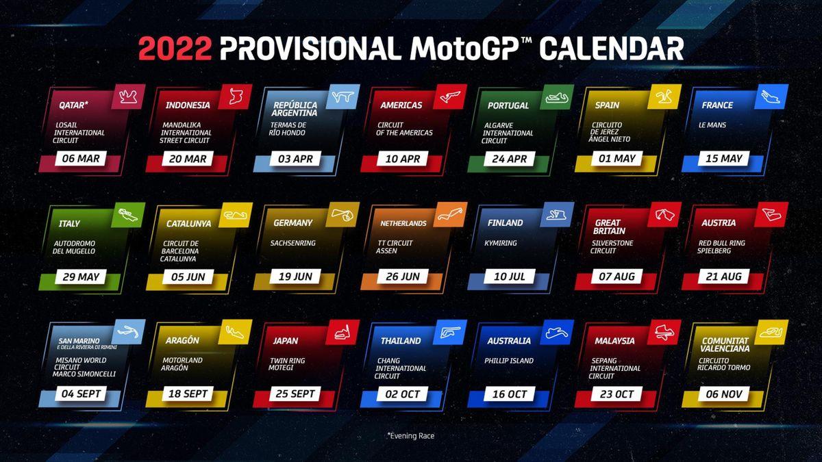 Calendario provisional de Moto GP para la temporada 2022