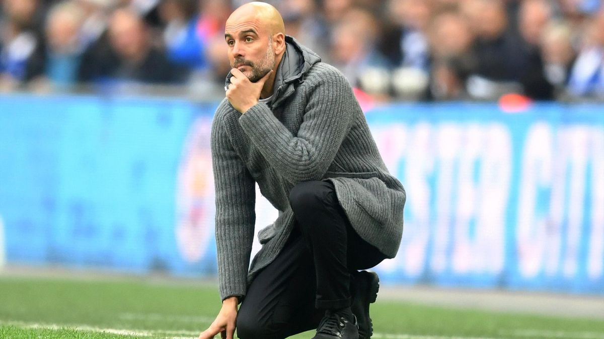 Josep Guardiola, Manager of Manchester City reacts during the FA Cup Semi Final match between Manchester City and Brighton and Hove Albion at Wembley Stadium.