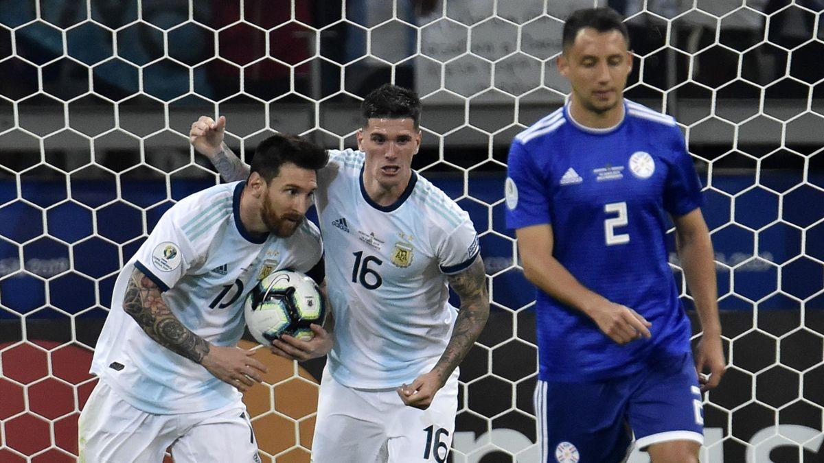 Messi esulta dopo il gol in Argentina-Paraguay, Copa America