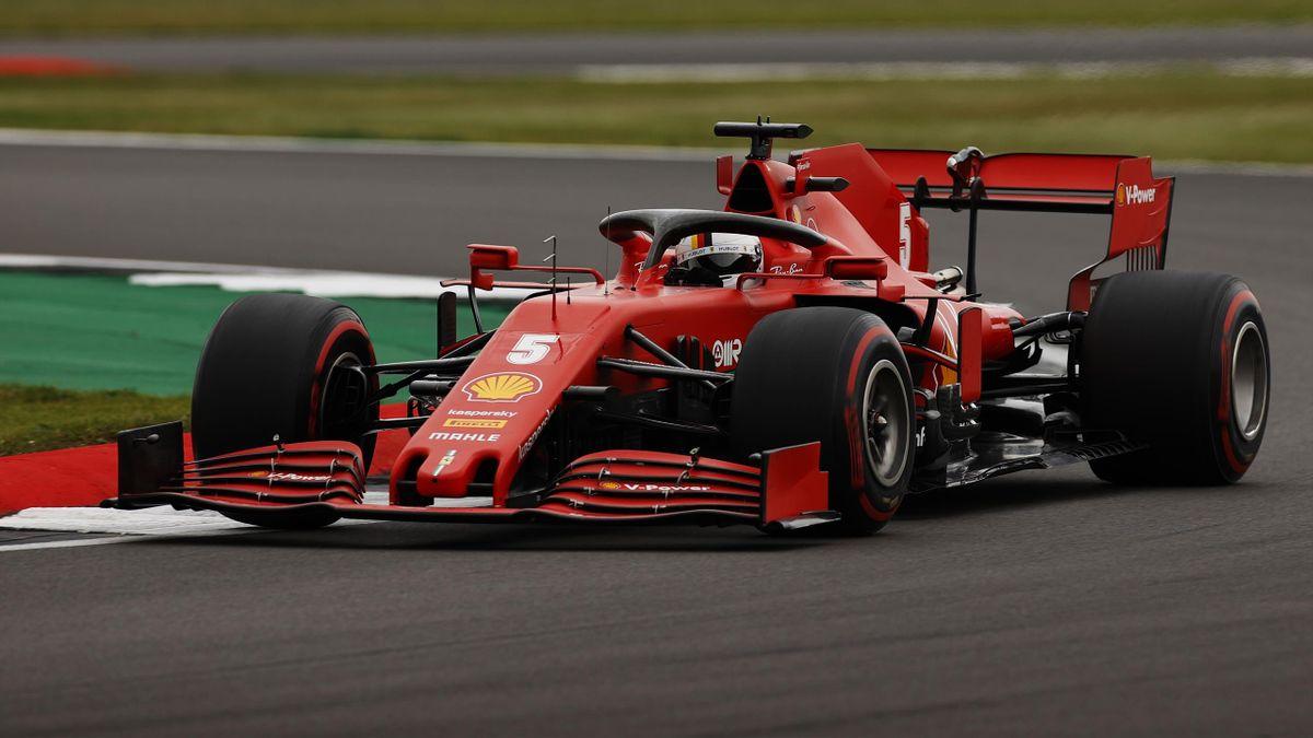 Sebastian Vettel im Ferrari in Silverstone
