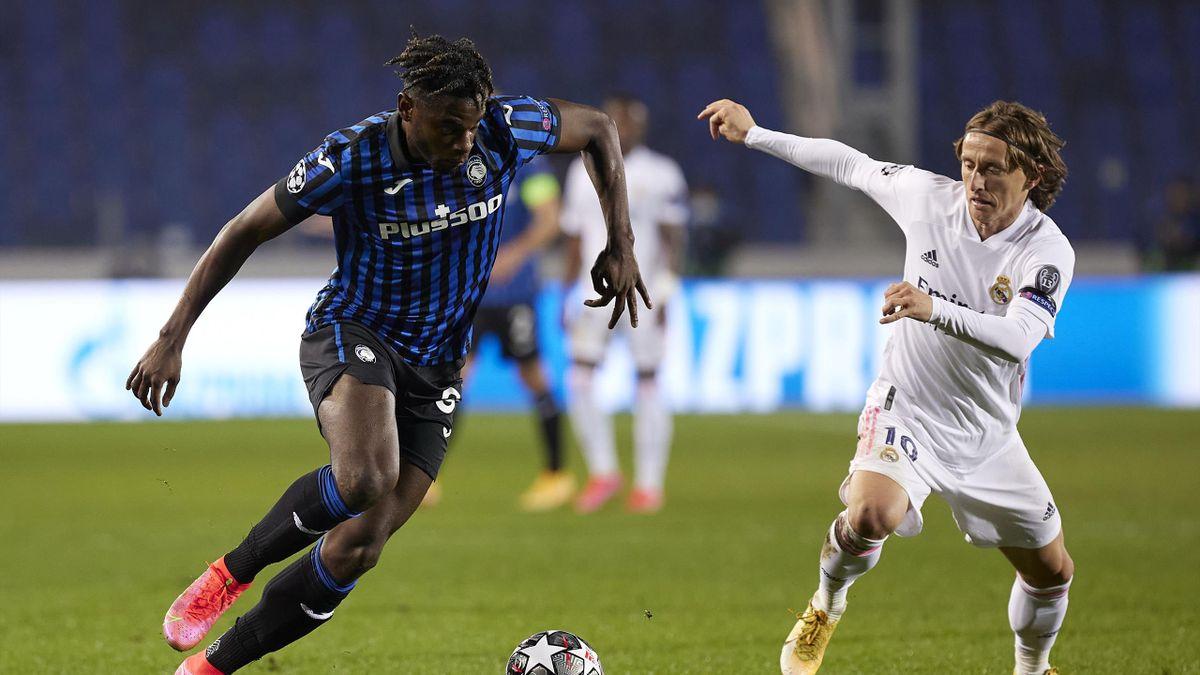 Duvan Zapata e Modric, Atalanta-Real Madrid, Champions League 2020-21