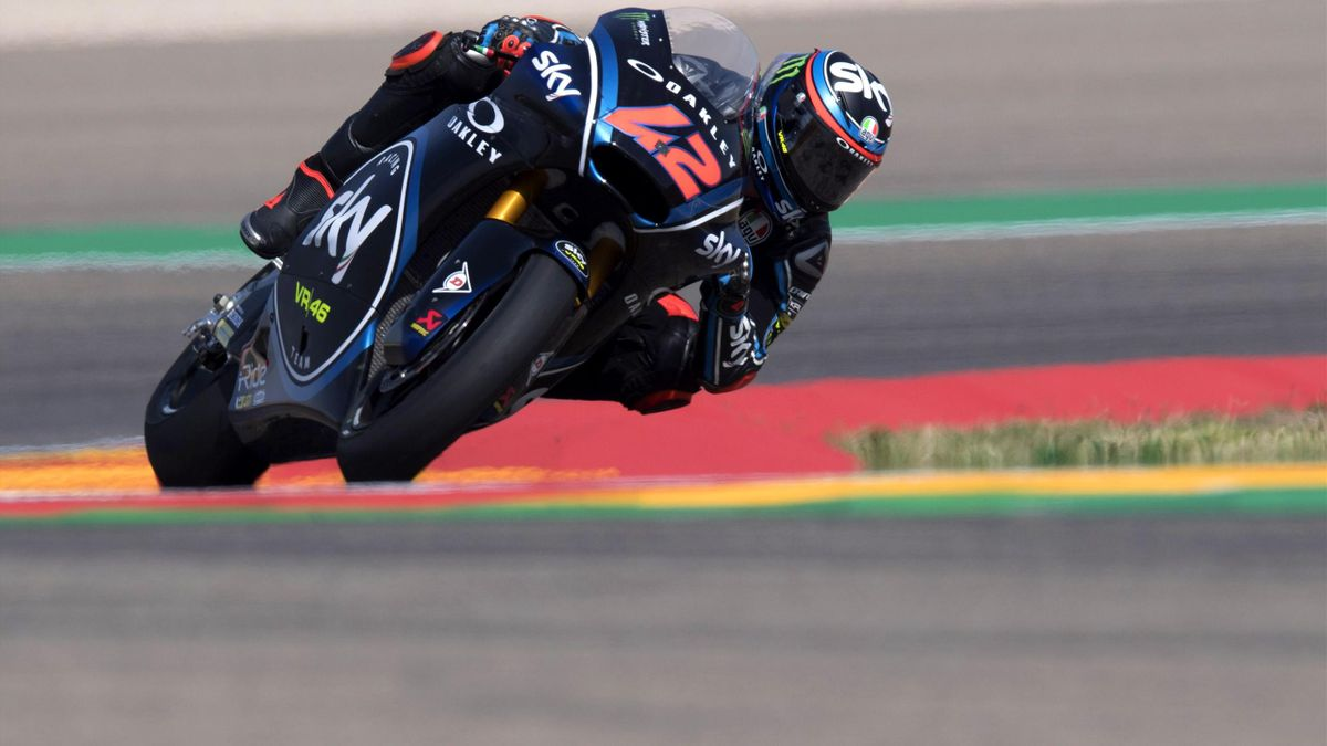 Francesco Bagnaia of Italy and Sky Racing Team VR46 rounds the bend during the MotoGP of Aragon - Free Practice at Motorland Aragon Circuit on September 21, 2018 in Alcaniz, Spain