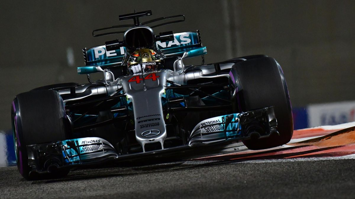 Mercedes' British driver Lewis Hamilton steers his car during the second practice session as part of the Abu Dhabi Formula One Grand Prix at the Yas Marina circuit