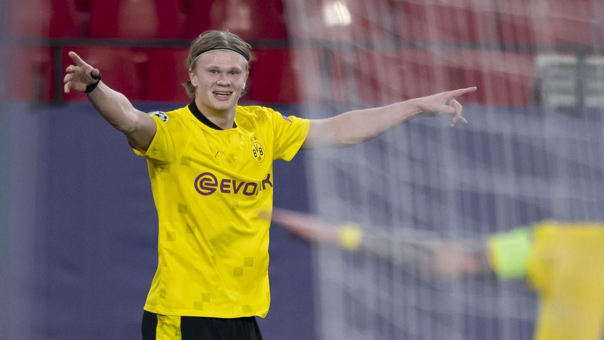 Erling Haaland trifft im Achtelfinal-Hinspiel der Champions League in Sevilla zwei Mal für Borussia Dortmund