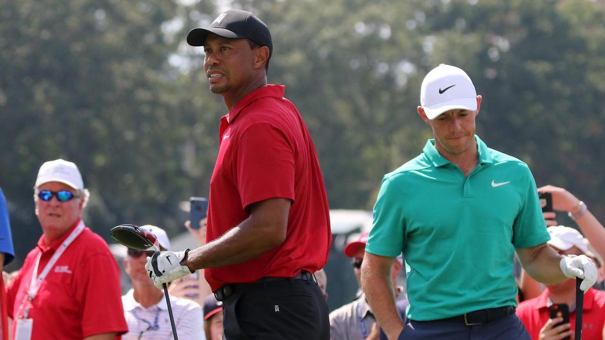 Rory McIlroy (rechts) und Tiger Woods
