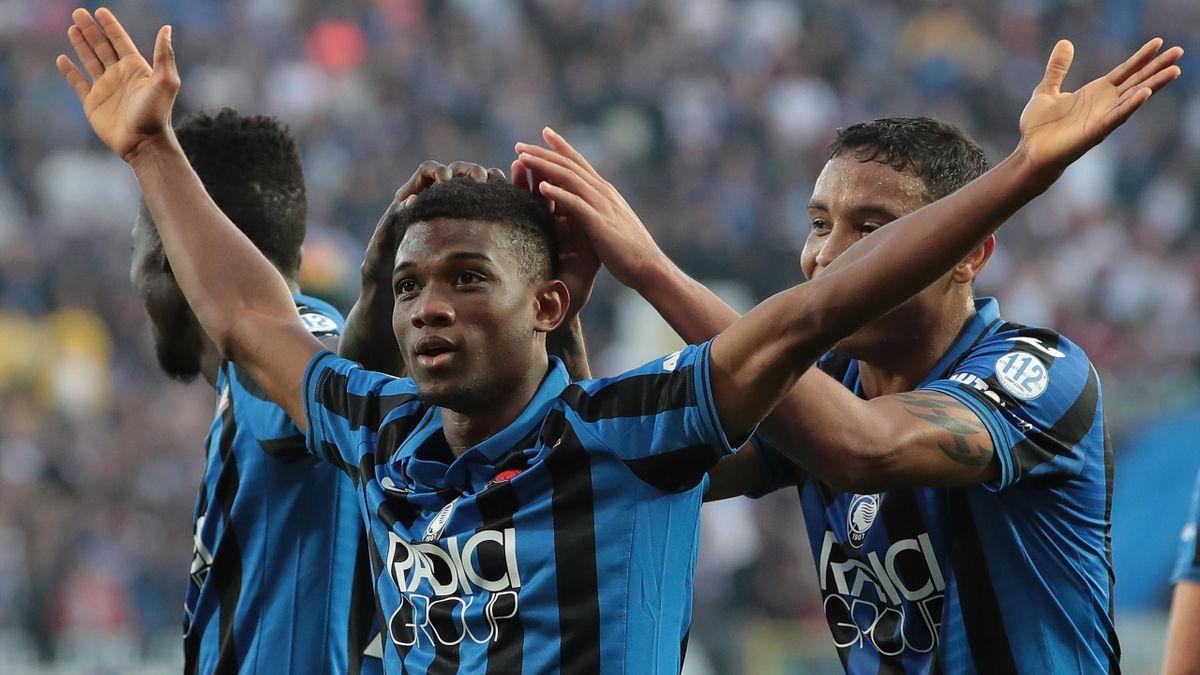 Amad Traore festeggia il suo primo gol in Serie A