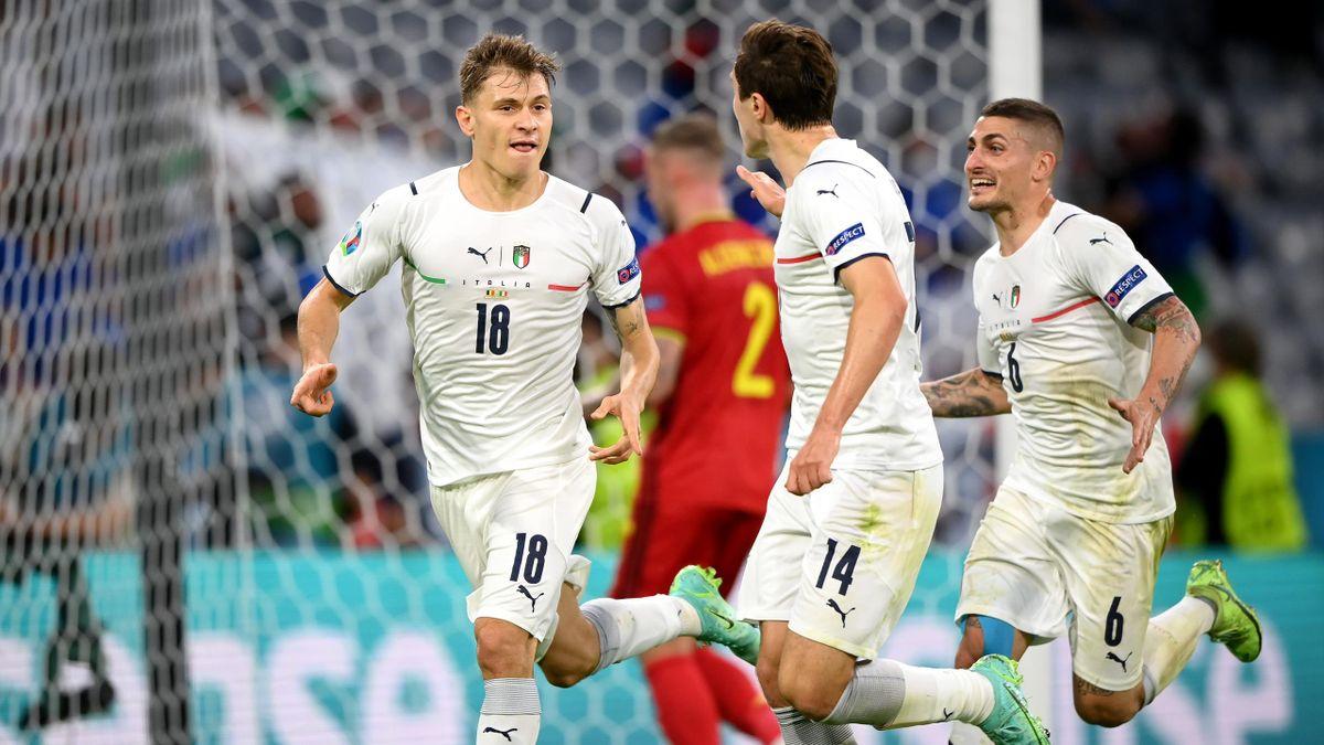 Belgio-Italia, Euro 2020 - L'esultanza di Nicolò Barella (Getty Images)