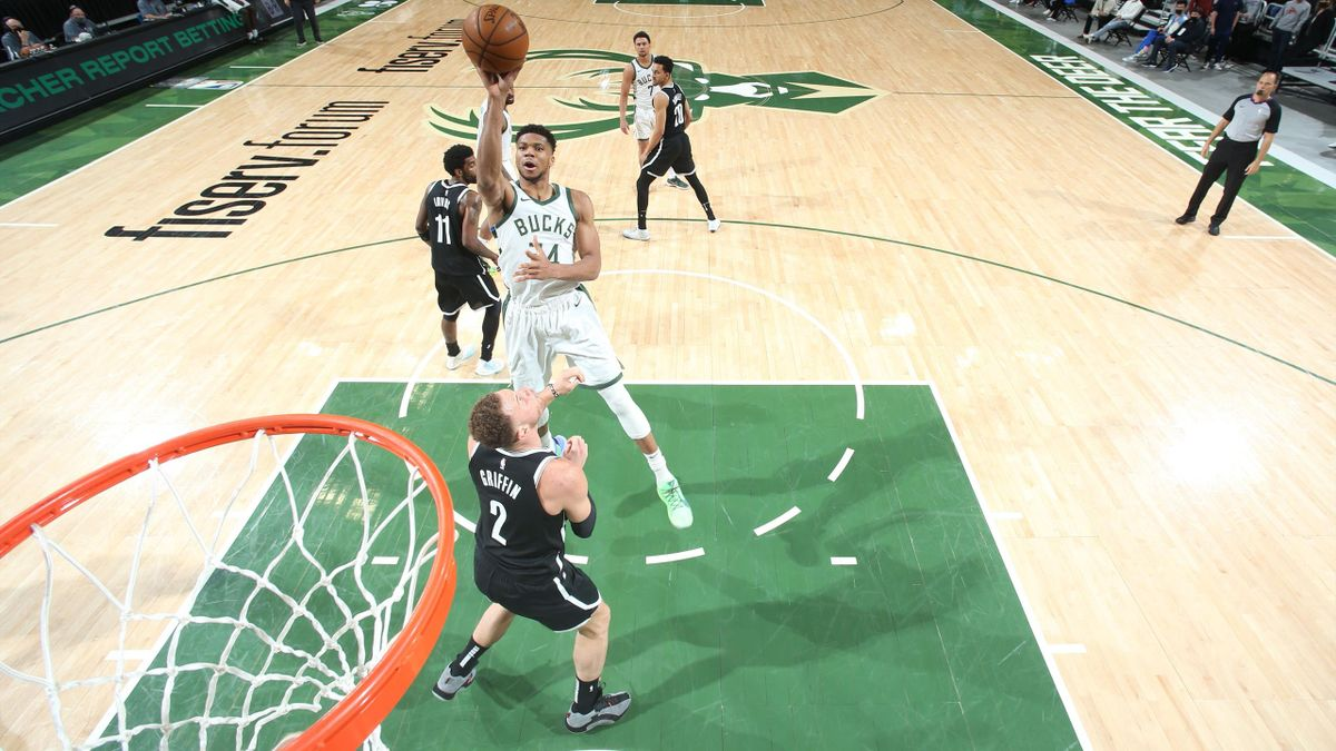 MILWAUKEE, WI - MAY 4: Giannis Antetokounmpo #34 of the Milwaukee Bucks shoots the ball during the game against the Brooklyn Nets on May 4, 2021 at the Fiserv Forum Center in Milwaukee, Wisconsin. NOTE TO USER: User expressly acknowledges and agrees that,