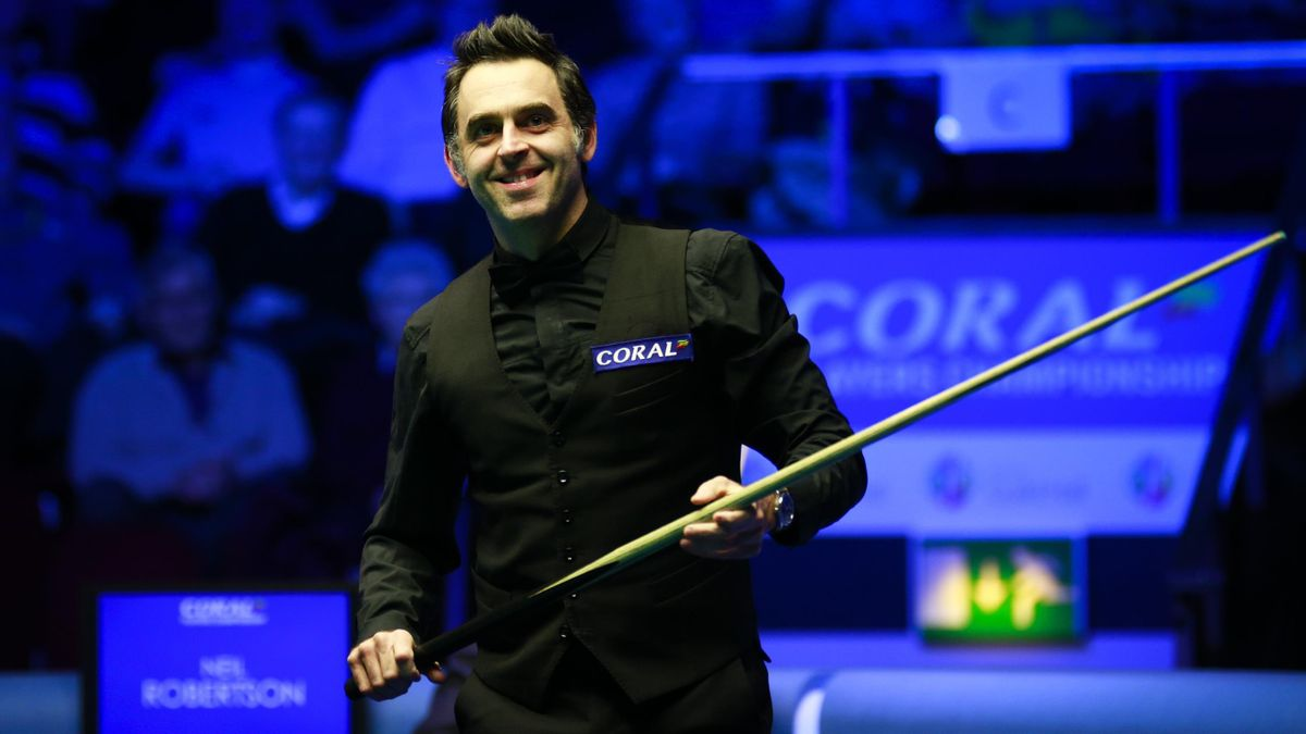 Ronnie O'Sullivan of England reacts during the final match against Neil Robertson of Australia on day seven of the 2019 Coral Players Championship at Preston Guild Hall.