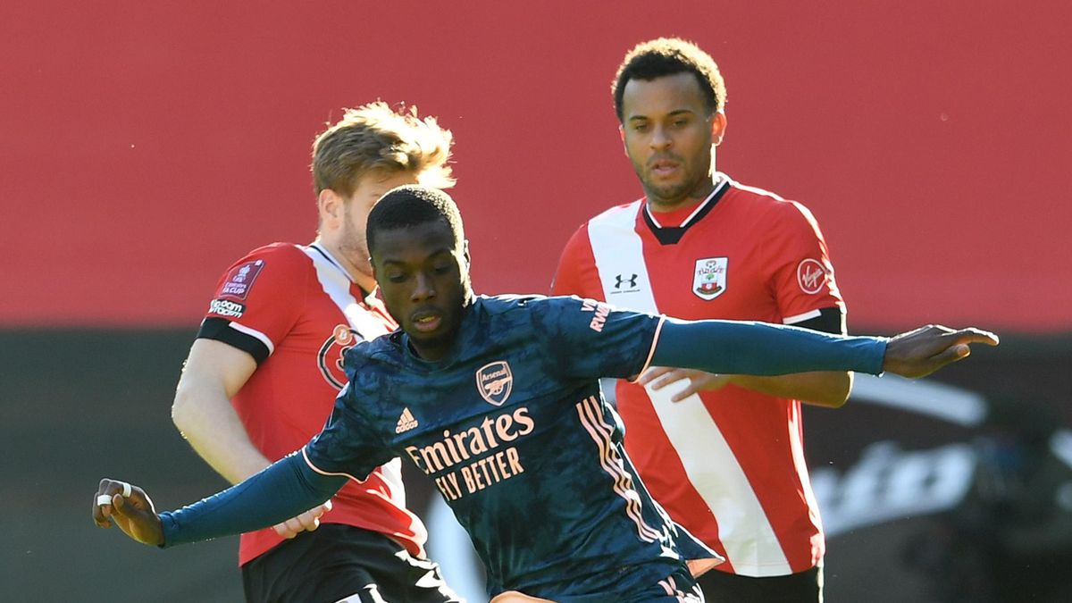 Nicolas Pepe of Arsenal during the FA Cup 4th round match with Southampto