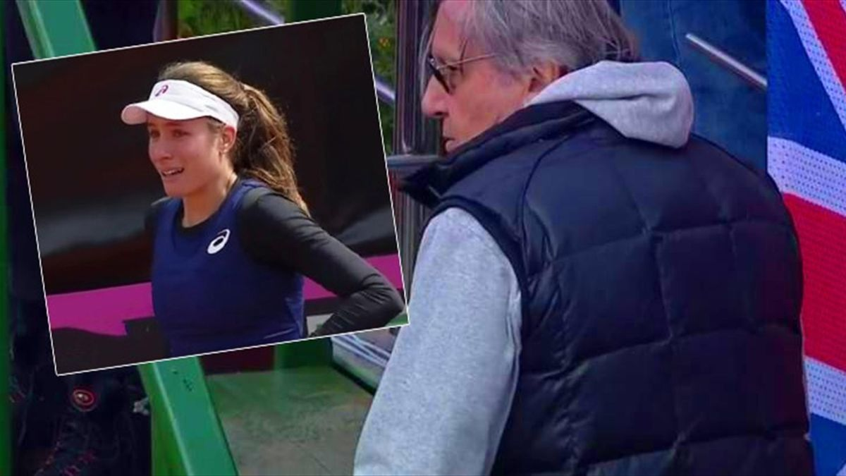 Johanna Konta cries after the incident with Ilie Nastase (BBC video screenshots)