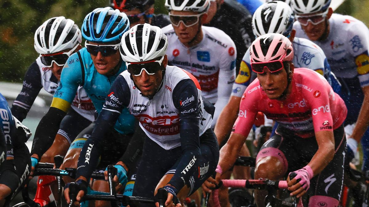 Vincenzo Nibali, Jakob Fuglsang and Joao Almeida (in pink) during Stage 12 of the Giro d'Italia 2020