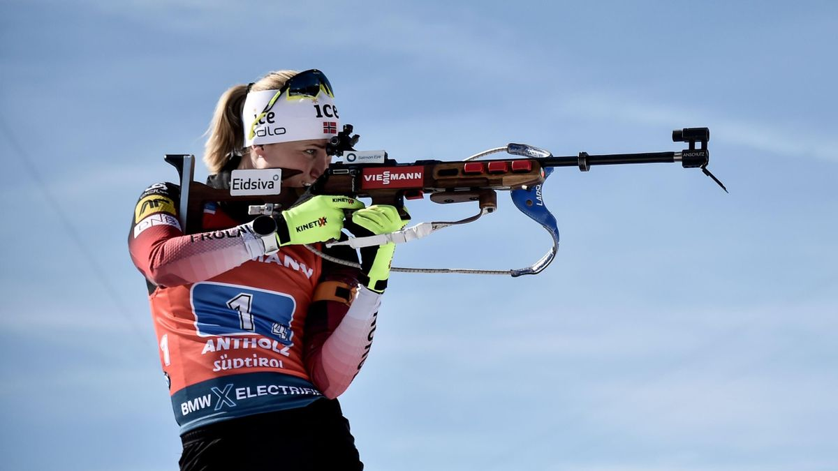 Norway's Marte Olsbu Roeiseland trains at the shooting range prior to competing in the Women 4x6 km Relay Competition at the IBU Biathlon World Cup in Rasen-Antholz (Rasun Anterselva), Italian Alps, on February 22, 2020