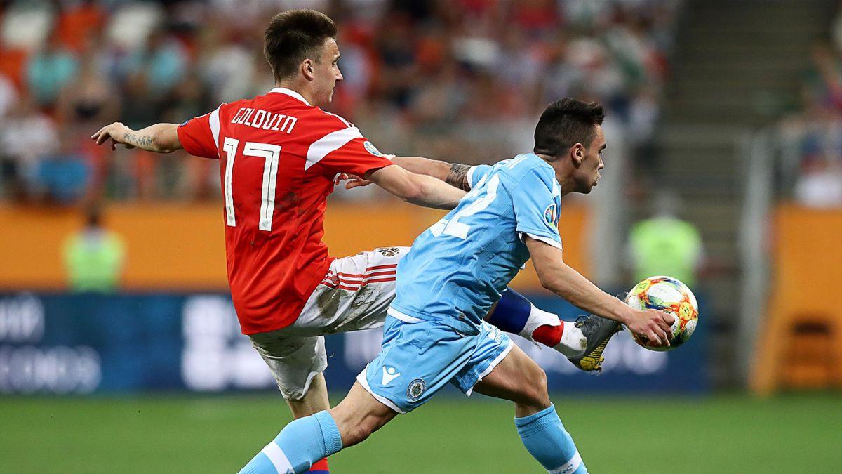Александр Головин в матче против Сан-Марино
