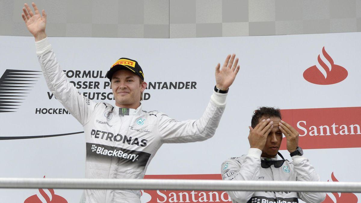 Nico Rosberg et Lewis Hamilton après le Grand Prix d'Allemagne.