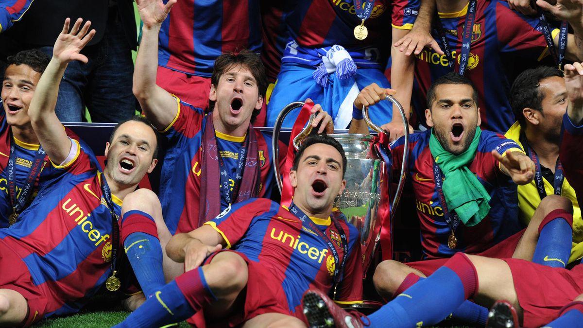 Andrés Iniesta, Xavi Hernandez, Lionel Messi ou Dani Alves, vainqueurs de la Ligue des champions avec le Barça en 2011.