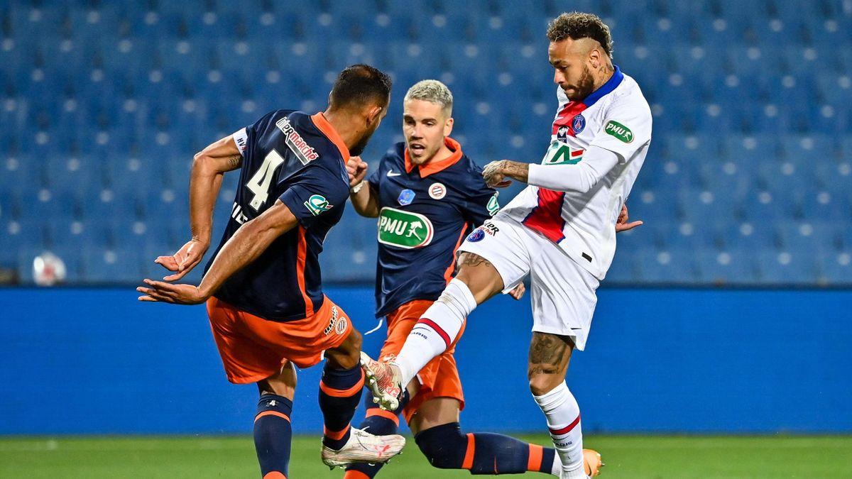 Vitorino Hilton (Montpellier) s'oppose à Neymar (PSG), en demi-finale de Coupe de France - 12/05/2021