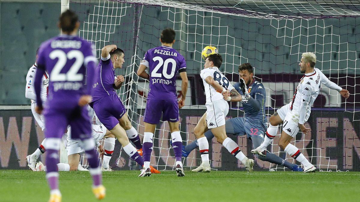 Il gol di Milenkovic, Fiorentina-Genoa