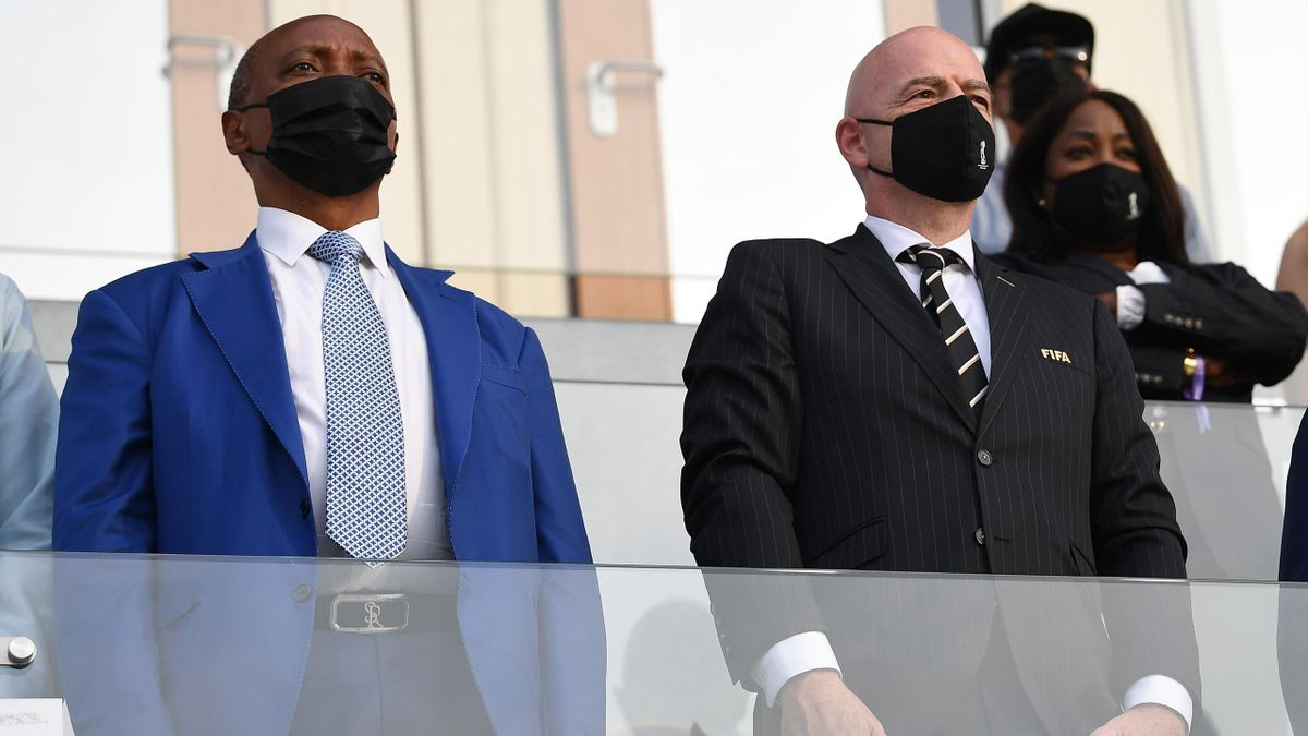 Patrice Motsepe, President of the Confederation of African Football, and Gianni Infantino, President of FIFA look on prior to the FIFA Beach Soccer World Cup 2021 3rd Place match between Switzerland and Senegal at Luzhniki Beach Soccer Stadium on August 2
