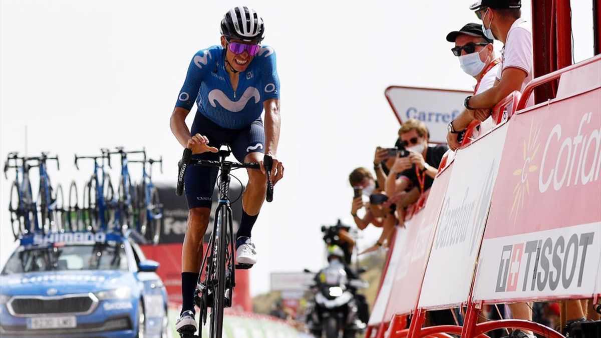 Enric Mas all'arrivo all'Alto de Velefique alla Vuelta di Spagna 2021