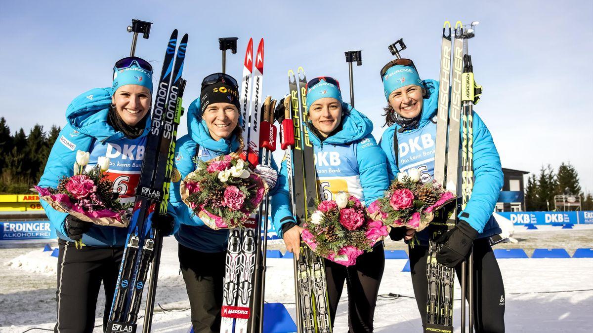 Julia Simon, Anais Bescond, Celia Aymonier et Justine Braisaz à Oberhof le 11 janvier 2020
