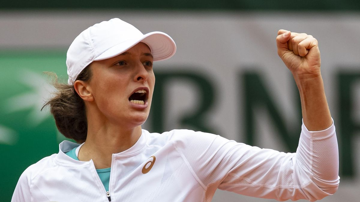Iga Swiatek of Poland celebrates during her match against Nadia Podoroska of Argentina in the semi-finals of the women's singles at Roland Garros