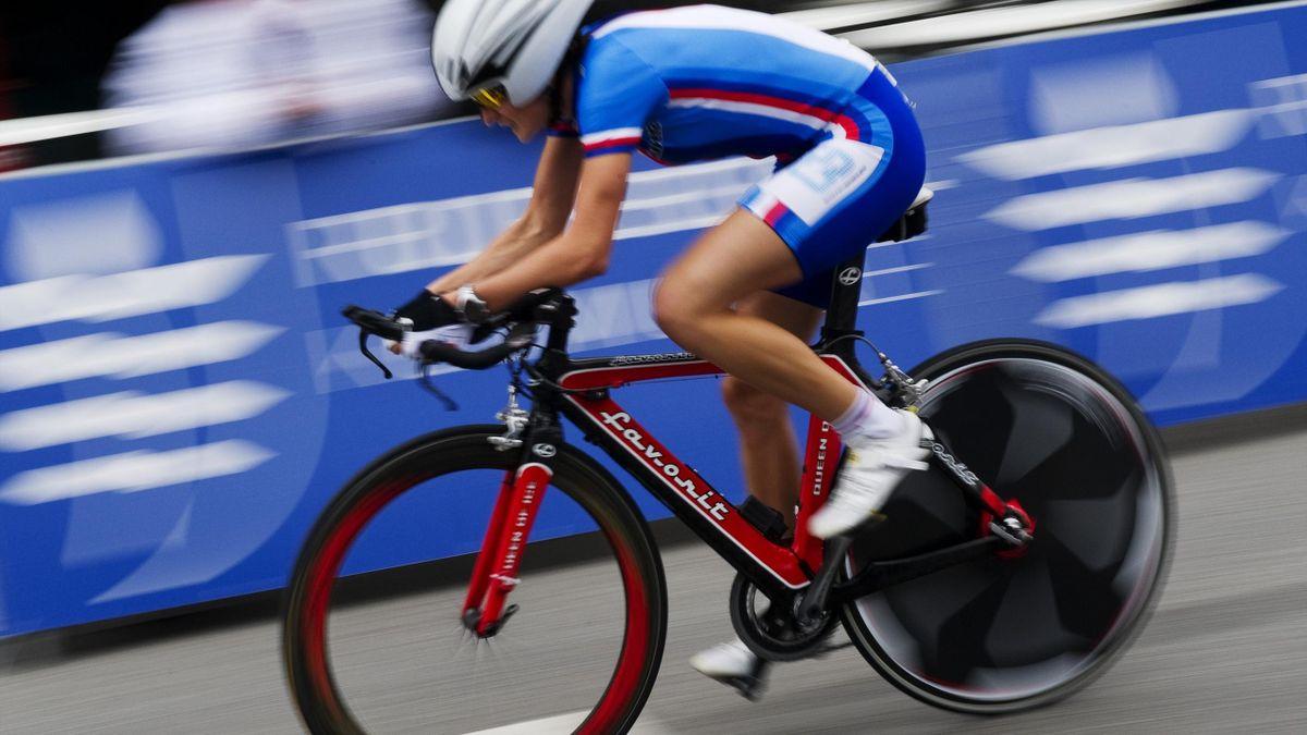 Martina Sablikova of Czech Republic competes during the Women Elite time trial on September 20, 2011 in Copenhagen
