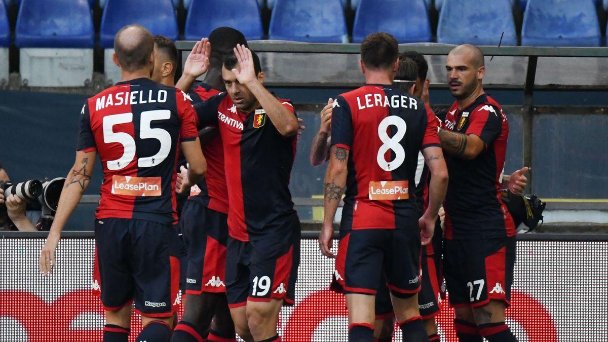 L'esultanza del Genoa dopo il gol di Sanabria, Genoa-Lecce, Serie A, Getty Images